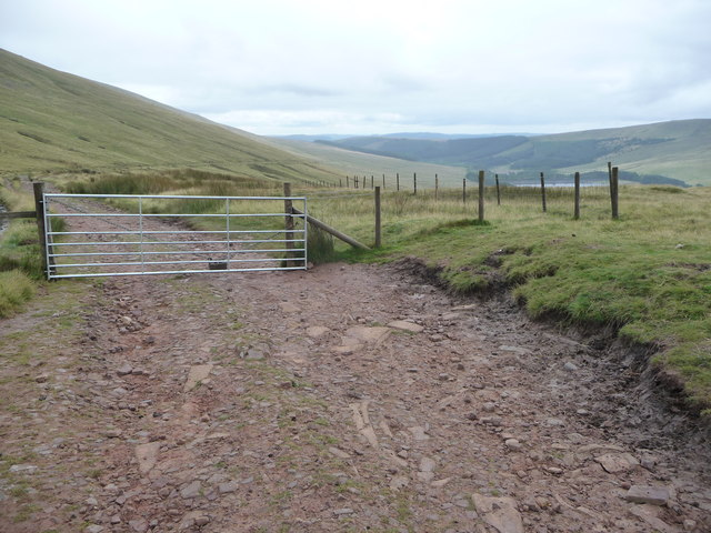 Gate on the 'Roman road' at Bwlch ar y Fan