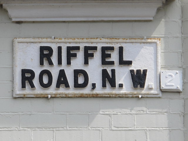 Sign for Riffel Road, NW2