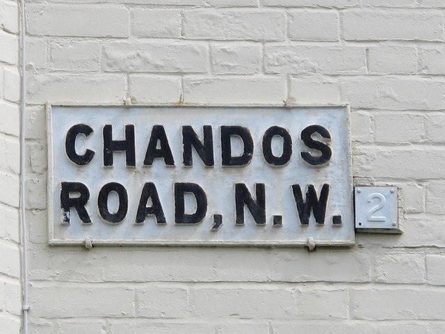 Sign for Chandos Road, NW2