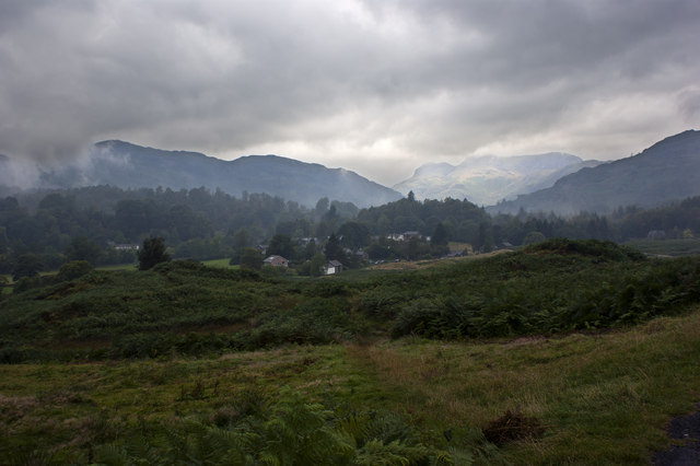 A view over Elterwater (the village) with signs of the weather improving