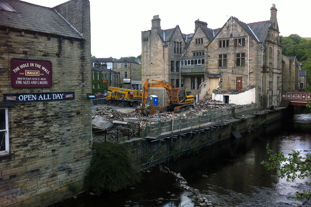 Demolition of buildings at the rear of Hebden Bridge Town Hall