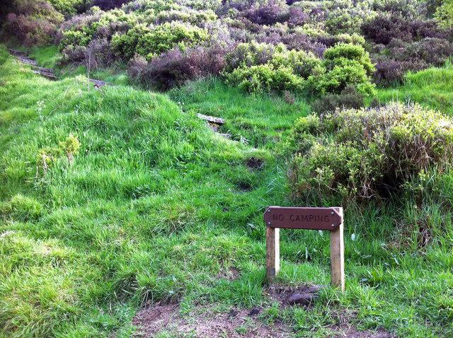 No Camping sign at Hebble Hole
