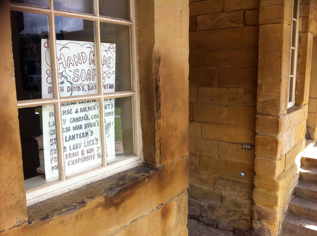 Grocer's apostrophe's - sign in a unit at the Piece Hall, Halifax