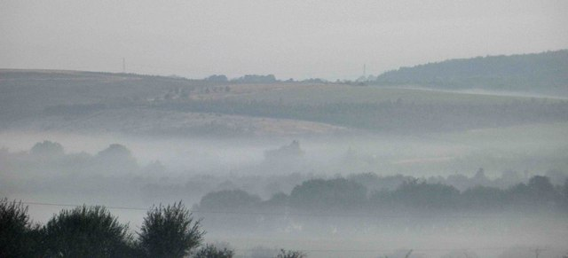 Morning mist forms over The River Dearne