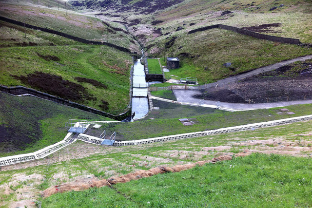 View downstream from Widdop Reservoir dam
