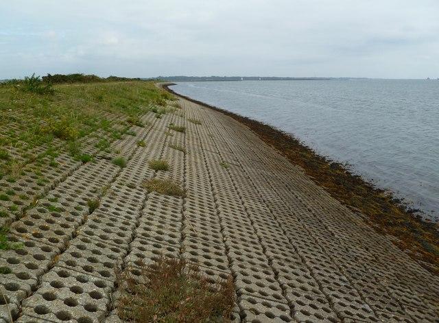 Pennington Marshes, sea defences
