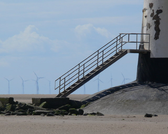 Point of Ayr Lighthouse and wind turbines
