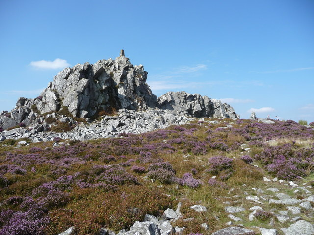 Walkers near Manstone Rock on the Stiperstones