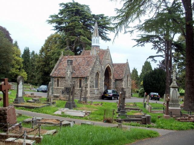 Side view of Grade II listed chapels, Keynsham cemetery