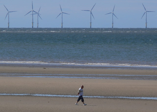 Talacre Beach and wind turbines
