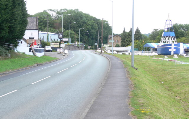 The A458 at Llannerch-y-Mor