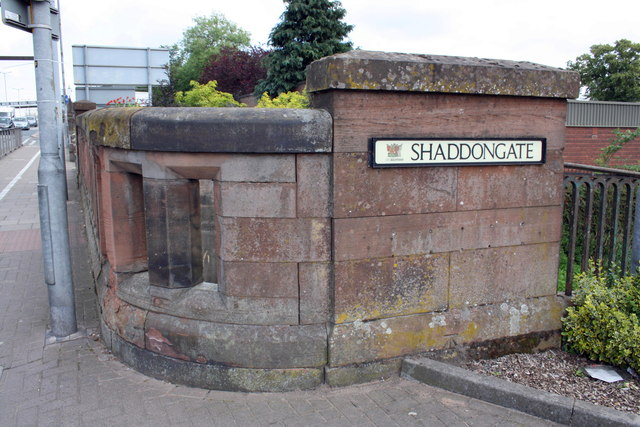 Benchmark on wall of Shaddongate