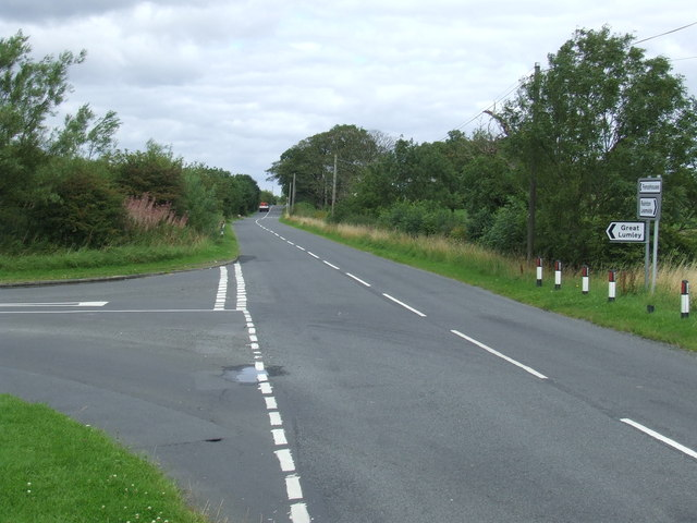 Road junction near Great Lumley