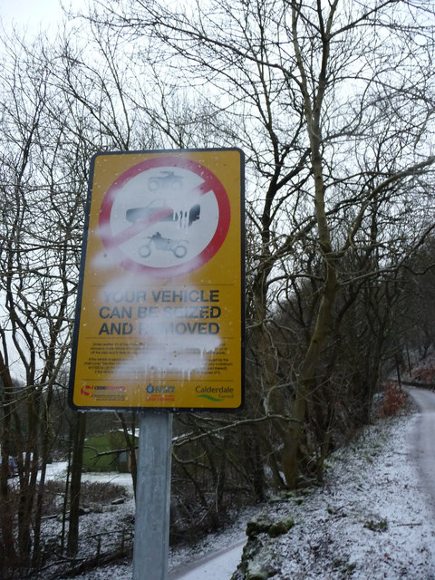 Defaced warning notice, Wood Top Road, Hebden Bridge