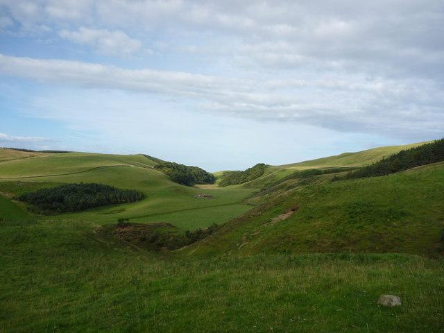 East Lothian Landscape : The Deuchrie Channel Seen From Above Sandy Knowe