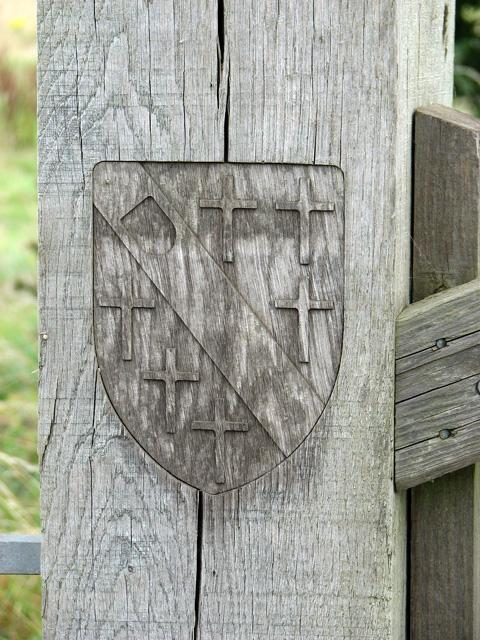 Heraldic shield incorporated into gatepost, Castle Rising