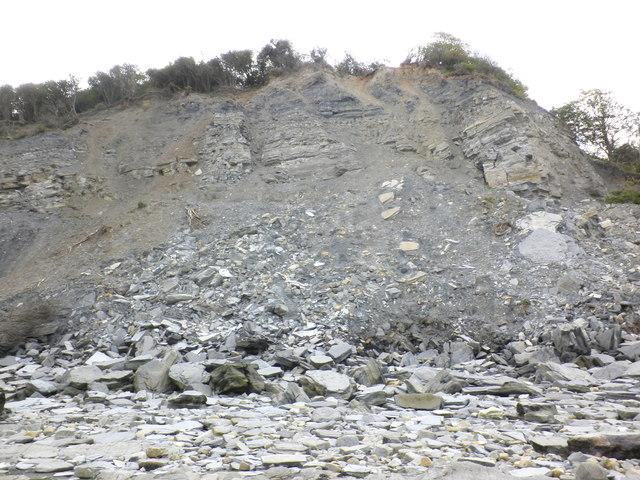 Recent landslide, near Gray Rock