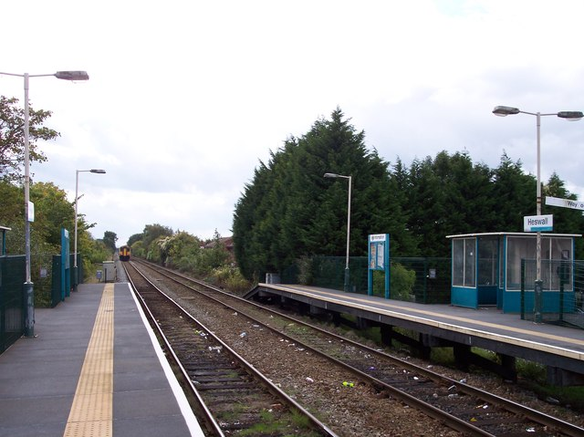 Train leaving Heswall station for Wrexham