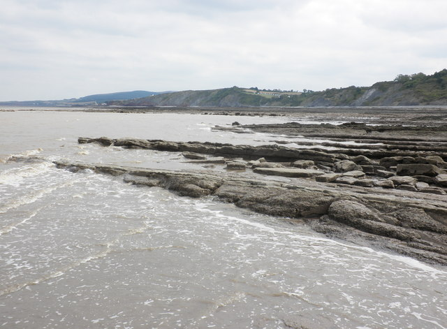 Wave-cut rocks at low tide