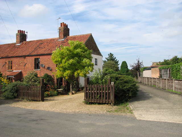 Red-brick cottages in Station Road, Dersingham