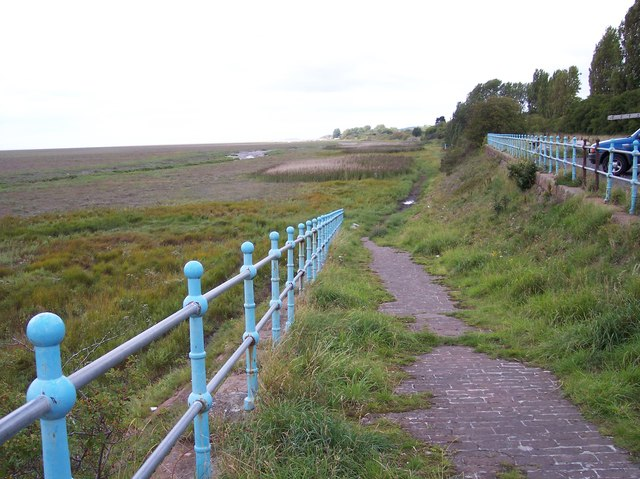 Ramp down to the salt marsh at the car park on Riverbank Road