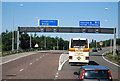 TQ4799 : Slip road junction 27 (M25 / M11) by Nigel Chadwick