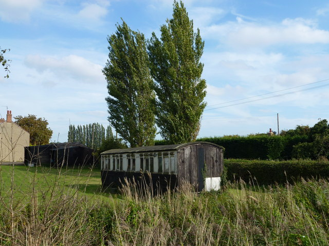 Old railway carriage in Holbeach Drove
