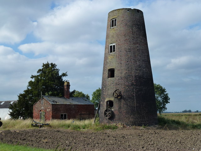 Old mill tower in Shepeau Stow, South Lincolnshire