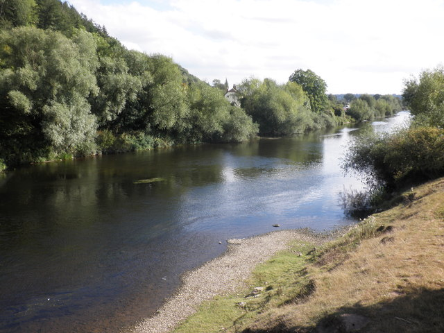 The River Wye, looking south, from Holme Lacy bridge