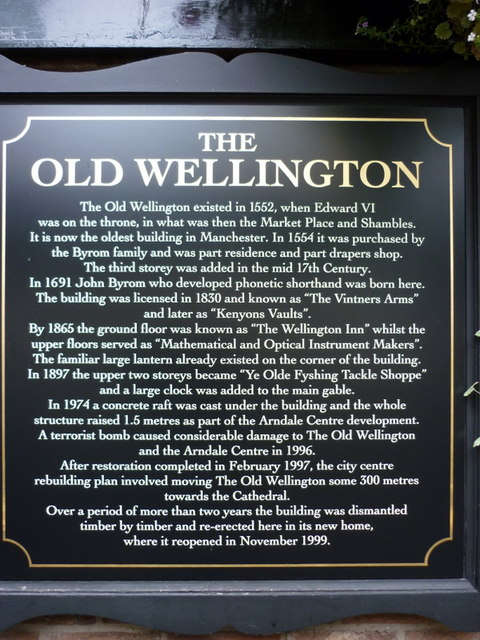 A sign at the Old Wellington Inn