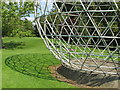 SU9850 : Sphere sculpture and its shadow, University of Surrey by David Hawgood