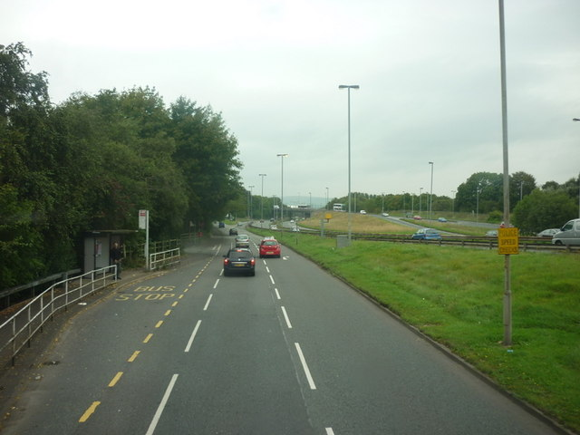 Looking along the A575 with the A666 alongside