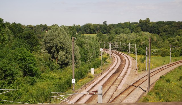 Railway lines diverge