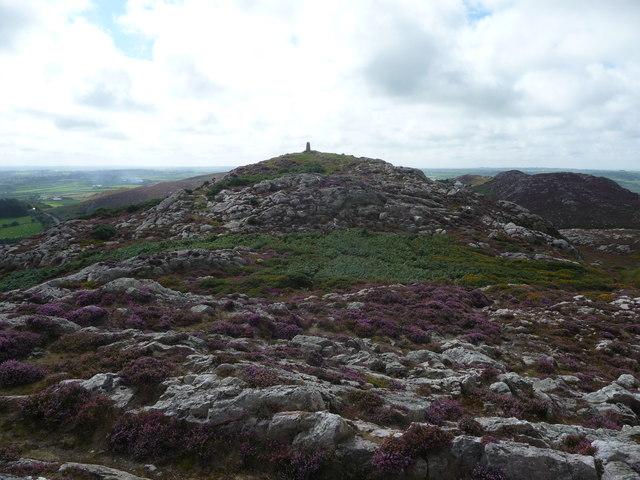 Trig point and summit of Yr Arwydd