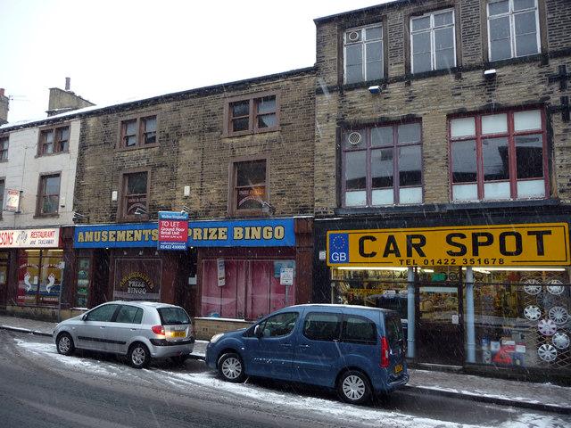 Car Spot car spares store and an empty amusement arcade - Union Street, Halifax