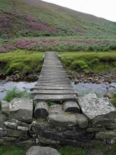 Wooden bridge over the infant River Little Don