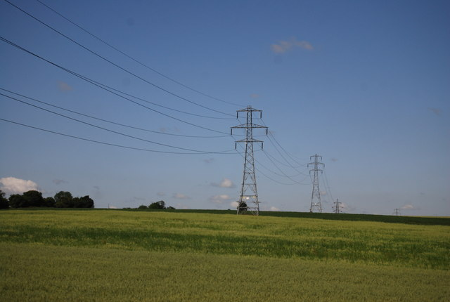 Pylons crossing the countryside
