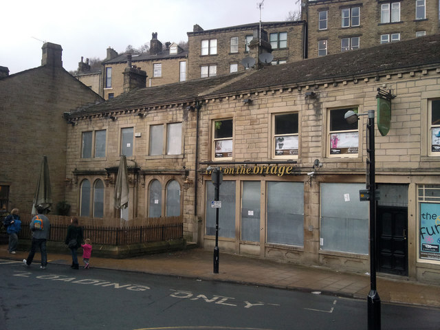 The Inn on the Bridge - boarded up pub in Hebden Bridge