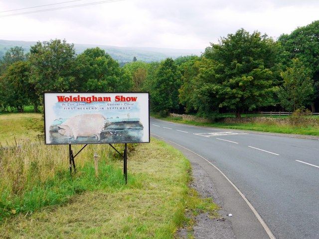 Sign for Wolsingham Show, Low Redgate Bank