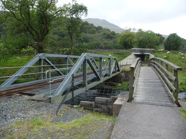 Footbridge and railway bridge over the Afon Glaslyn near Beddgelert