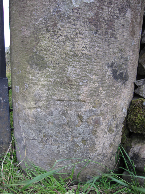Bench mark on gatepost for Neals Ing