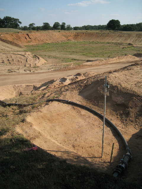 Pipe in a sand and gravel quarry