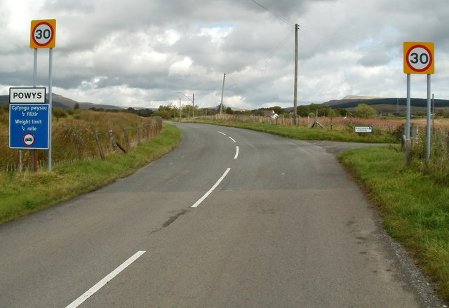 The road from Onllwyn reaches Powys