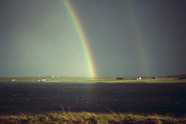 Rainbow over the voe at Baltasound