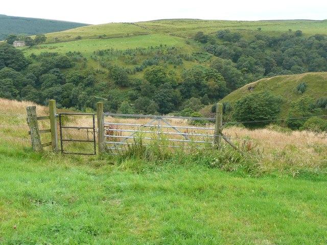 Gate on a footpath below Raw Hey, Todmorden