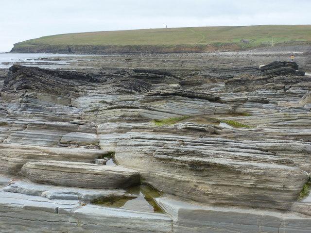 Birsay: rock strata and Brough of Birsay