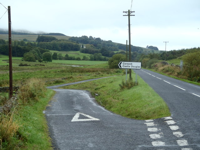 Junction of the A 702 and Corsock Road