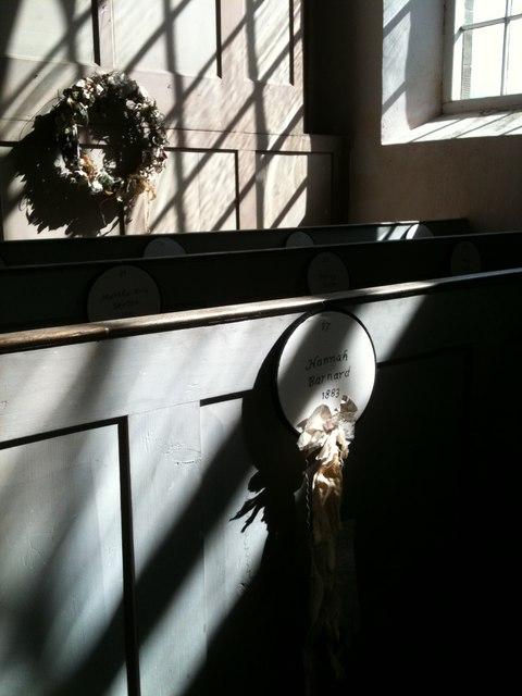 Maidens' Garlands inside Old St Stephen's church, Robin Hood's Bay