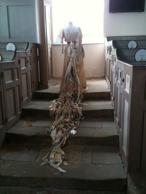 Dress, part of the Maidens' Garlands exhibition, Old St Stephen's Church, Robin Hood's Bay