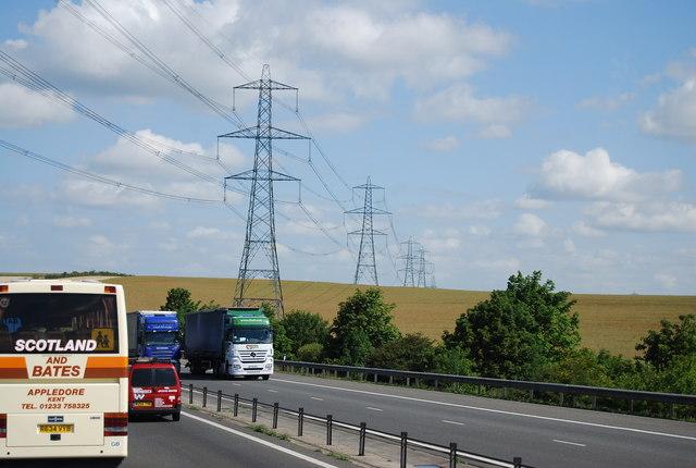 Pylons crossing the M11